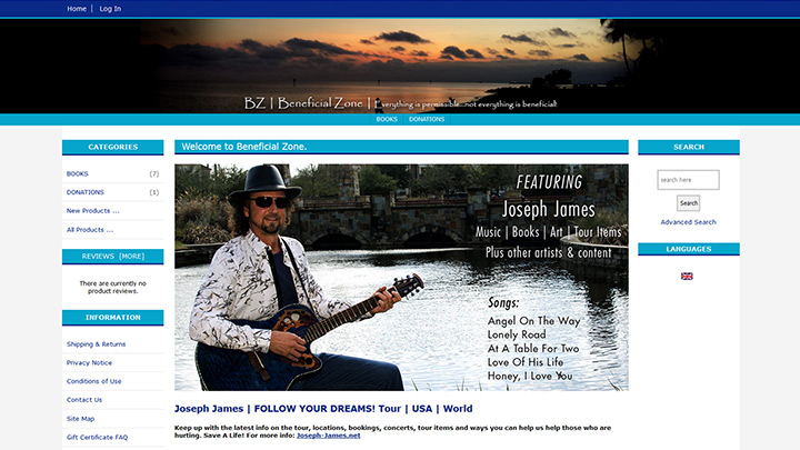 Shopping - Joseph James - Music, Books, Shirts, Concert Memorabilia, Other products
