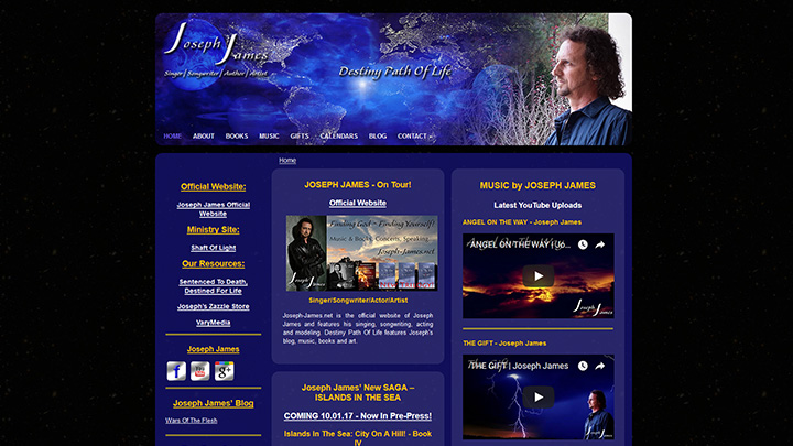 Destiny Path Of Life - Joseph James - Joseph James' ministry website including his books, art, music and blog