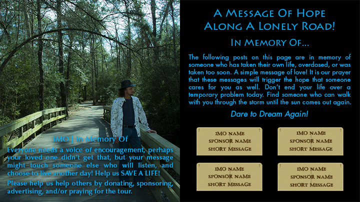 Help Sponsor the Tour and Share a Message about a loved one - Joseph James - In Memory Of
