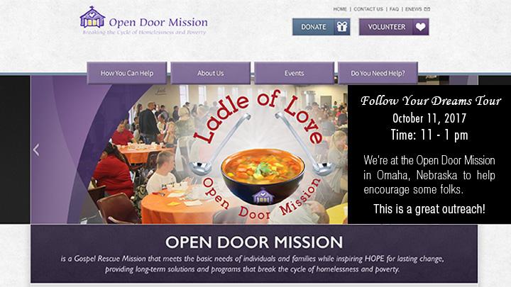 Follow Your Dreams Tour - Joseph James - Open Door Mission - Omaha Nebraska, October 11, 2017