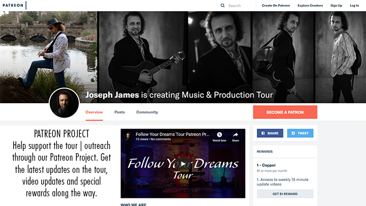 Follow Your Dreams Tour Patreon Page - Joseph James & GameChangers Universal