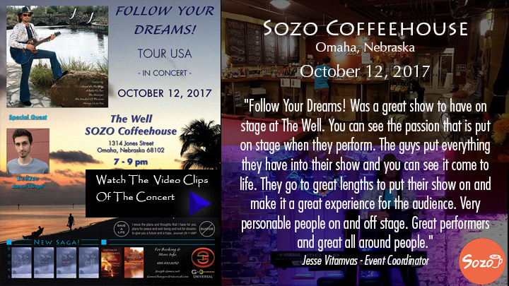 Follow Your Dreams Tour - Joseph James - Sozo Coffeehouse - The Well Music - Omaha Nebraska, October 12, 2017