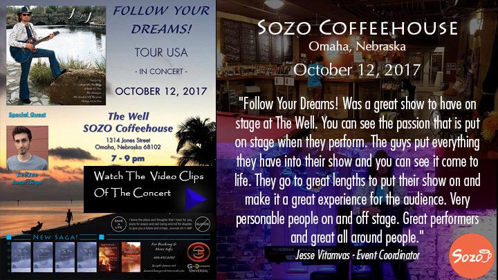 Follow Your Dreams Tour - Joseph James - Sozo Coffeehouse - The Well Music - Omaha Nebraska, October 12, 2017